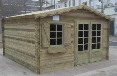 Abri de jardin autoclave 13 m paisseur madrier 34 mm for Abri de jardin en bois traite autoclave
