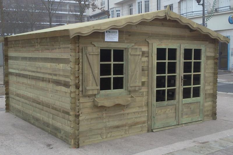 Abri de jardin traité autoclave 16 m² madriers 28mm