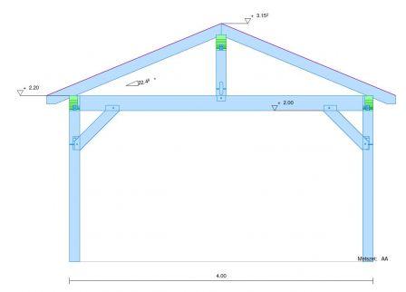 pr au vente d 39 un auvent ossature en bois de 4 x 5 m. Black Bedroom Furniture Sets. Home Design Ideas