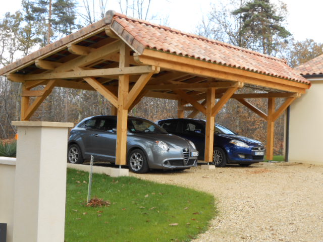 abris de voiture vente d 39 un carport en bois asym trique deux places. Black Bedroom Furniture Sets. Home Design Ideas